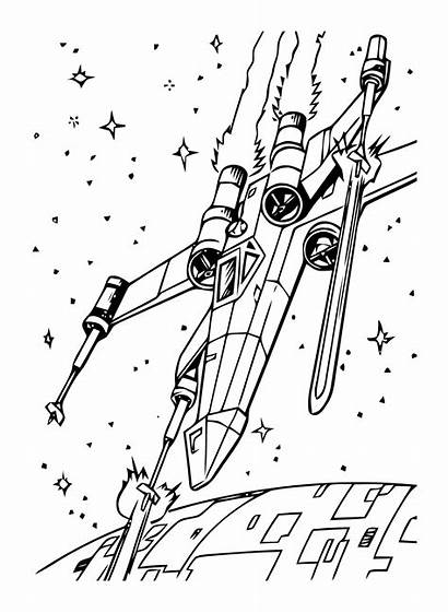 Wars Coloring Star Pages Wing Fighter Allkidsnetwork