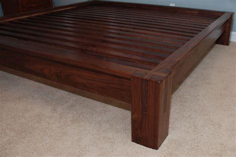 hand crafted slatted platform bed walnut  belak