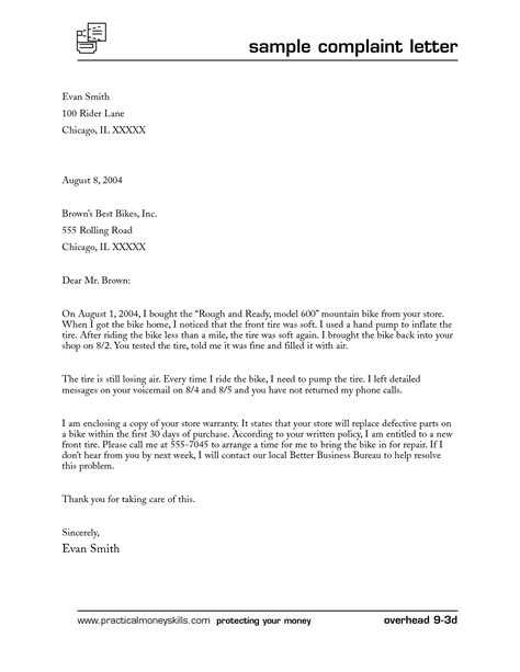 write  business complaint letter