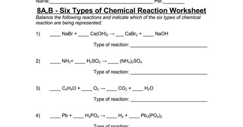 8a b six types of chemical reaction worksheet
