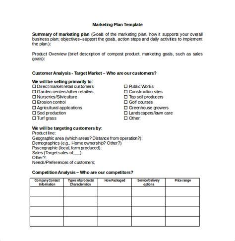 marketing plan template  microsoft word