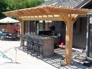 stylish wooden pergola for small outdoor kitchen designs With outdoor kitchen designs with pergolas