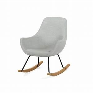 Rocking Chair Tissu : norton fauteuil rocking chair en tissu gris pieds bascule en bois et m tal vintage l 69 x ~ Teatrodelosmanantiales.com Idées de Décoration