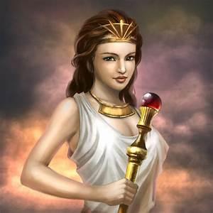 Hera. Godin van het huwelijk. Getrouwd met Zeus. Zus van ...