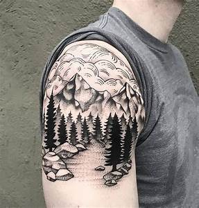 Brilliant Mountains With Pine Trees Tattoo On Right ...