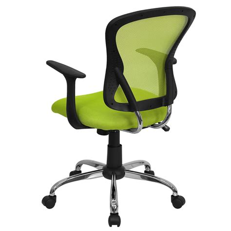 mid back green mesh swivel task chair with chrome base and