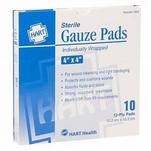Gauze Pads, HART, sterile, 4' x 4', 10 per box - WOUND ...