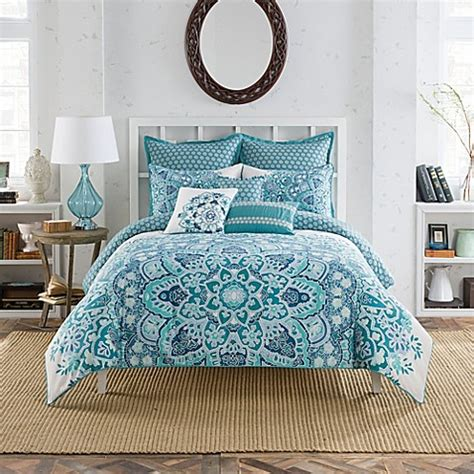 anthology bedding anthology kaya reversible comforter set in blue bed bath beyond