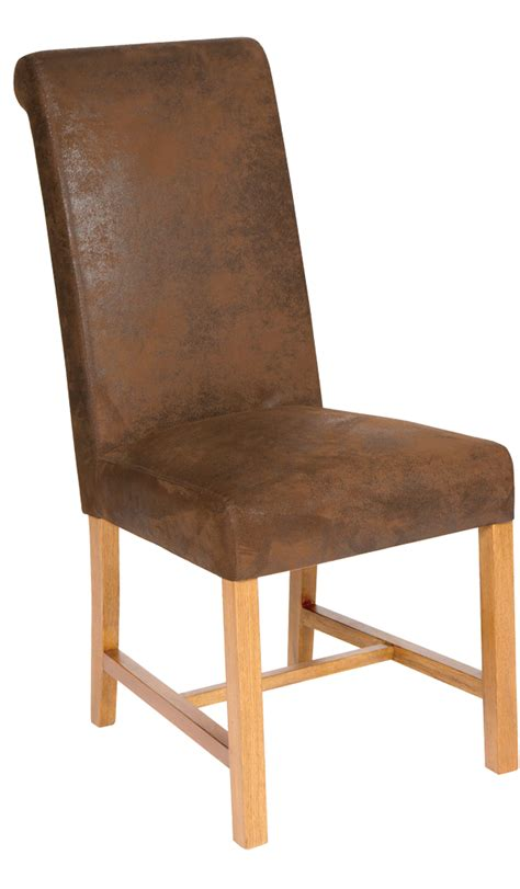 leadon oak and faux leather dining chair