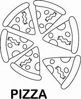 Pizza Coloring Pages Foods Printable Sheet Clipart Favorite Preschool Slice Topping Pie Emoji Printables Whole Clip Pyramid Cutouts Summer Preschoolers sketch template