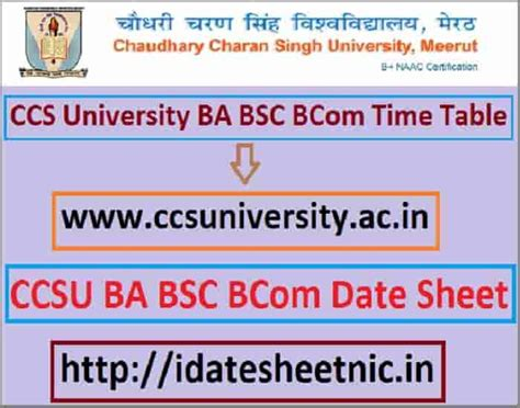 ccs university exam date sheet ba bsc bcom time table