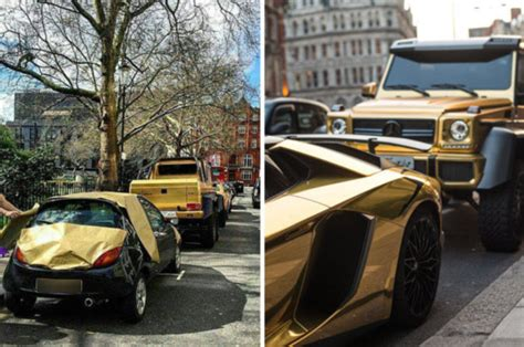 Gold Luxury Supercars Of Saudi Arabian Tourist In London