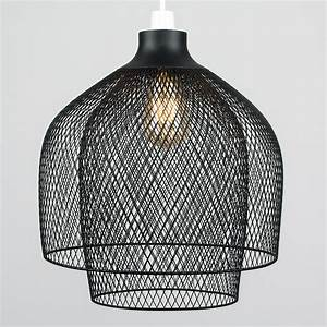 Vintage, Black, Metal, Caged, 2, Tier, Ceiling, Light, Pendant, Shade, Led, Bulb, Lighting