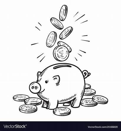 Bank Piggy Cartoon Coins Falling Sketch Vector