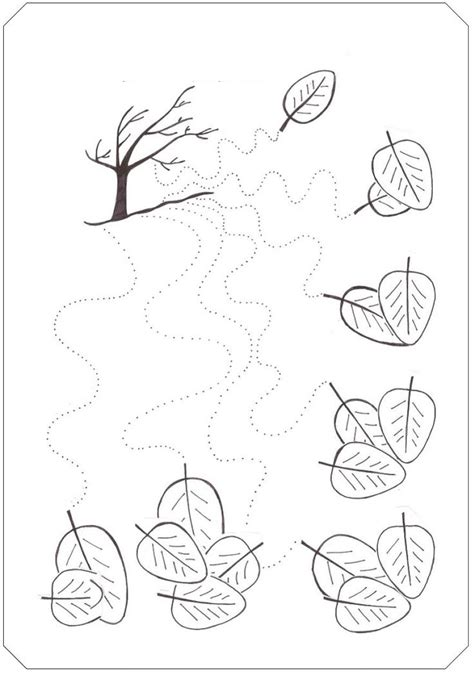 fall tree trace line worksheet wavy lines tracing