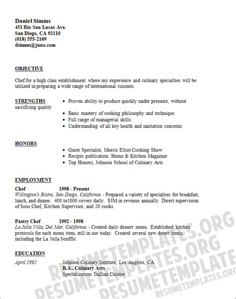 Culinary Cook Resume Sle by Chef Resume Templates 28 Images Chef Resume Sle Writing Guide Resume Genius Chef Resume