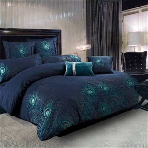 Peacock Colored Bedding by Peacock Feathers Blue Comforter Set