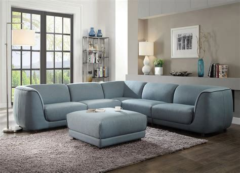 Acme 53725 Adina Light Blue Fabric Sectional Sofa Set 5pcs