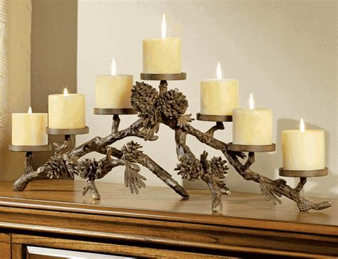 Rustic Candle Holders: Metal Pinecone Candelabra Black