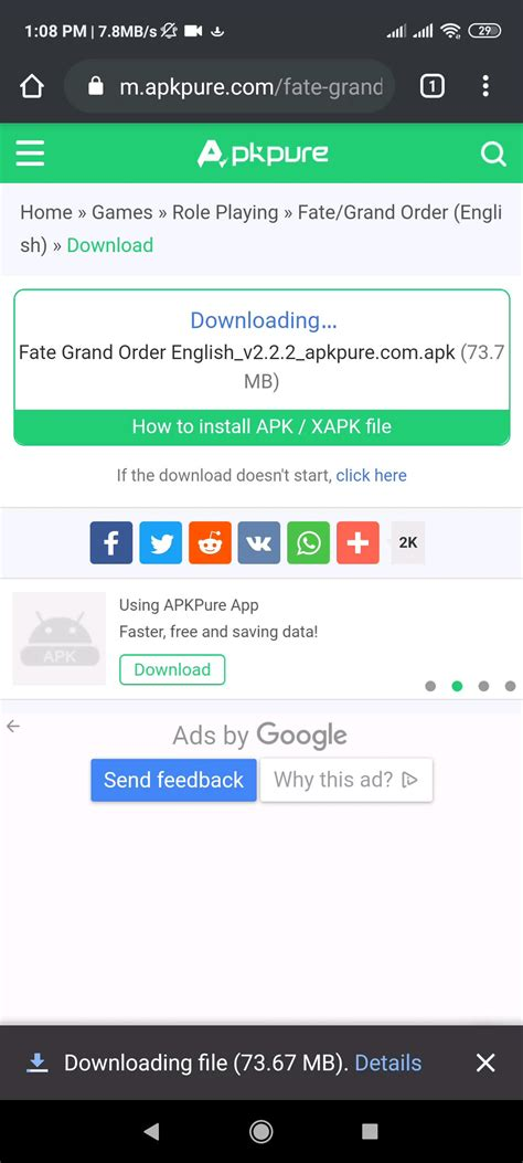 Very short guide how to update FGO with ApkPure. : grandorder