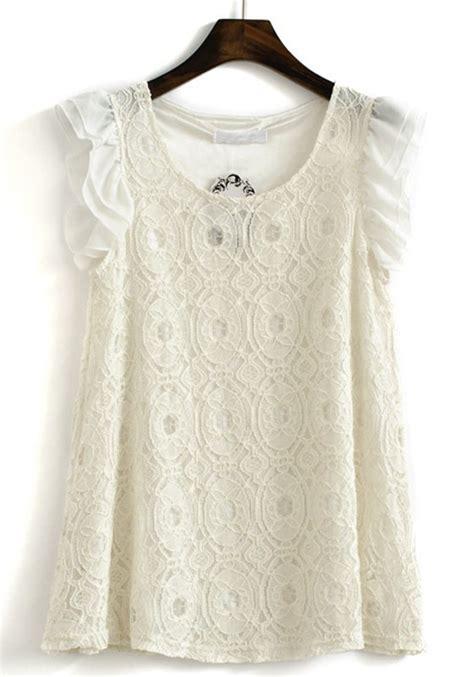 lace blouse white neck cap sleeve lace blouse blouses tops