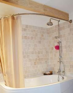 Barre De Douche Arrondie : barre rideau de douche pour baignoire asymetrique ~ Premium-room.com Idées de Décoration