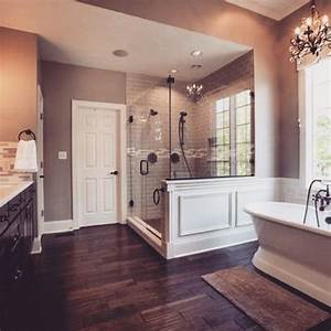 beautiful master bath love the quothardwoodquot tiles gorgeous With bathroom between two bedrooms
