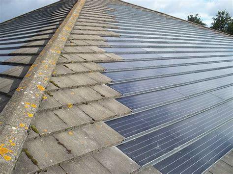 solar panel installation on asbestos roof tile backstage