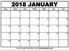Printable January 2018 Calendar towncalendarscom