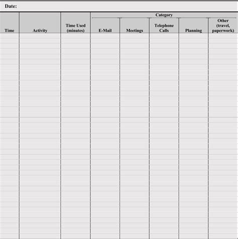 daily activity log templates  sheets excel word