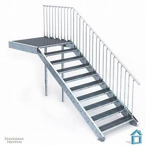 Vordach Bausatz Stahl : au entreppe stahl mit 10 stahlstufen 120 cm treppenbreite mit podest 135 cm steinhaus treppen ~ Whattoseeinmadrid.com Haus und Dekorationen