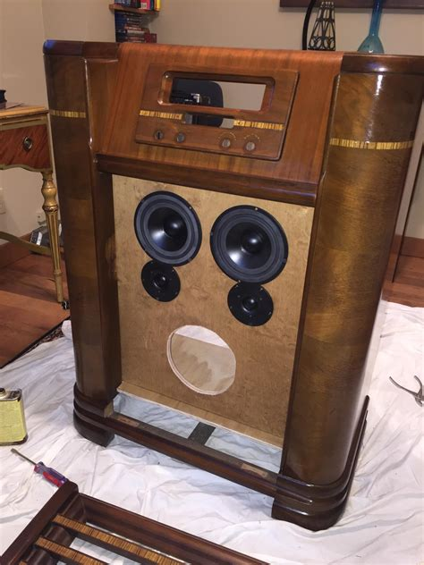 vintage stereo cabinet repurposed old radio cabinet repurposed into speaker techtalk