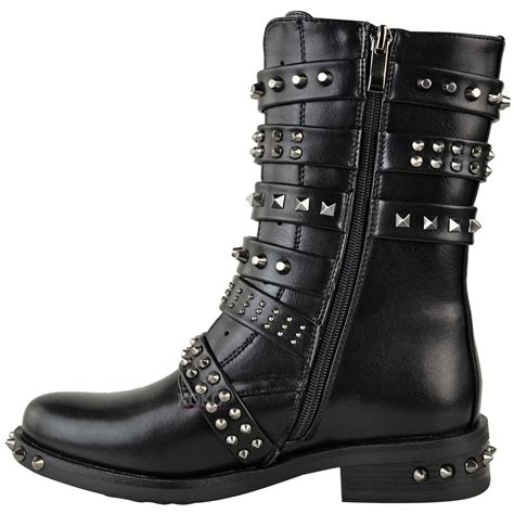ladies biker boots womens ladies studded ankle boots buckle western biker