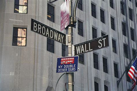 Wall Street and Broadway New York City