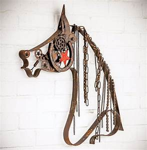 Rustic metal horse with chain mane