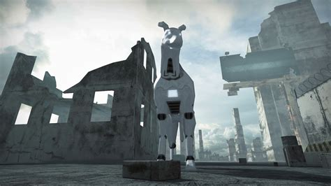 animation   robot dog  ruined city  rendering