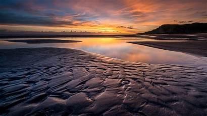 Sunset Ground Wet Mud Water Cloud Reflection