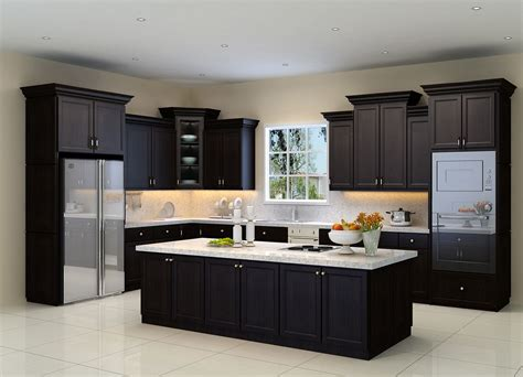 wall of kitchen cabinets general concept espresso cabinets white counter top 6954
