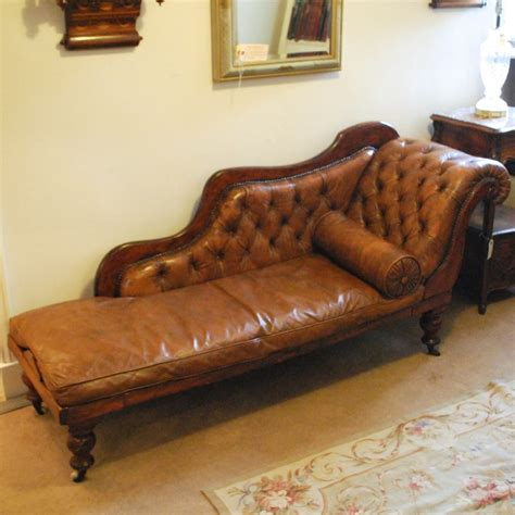 antique button back leather chaise longue 308668