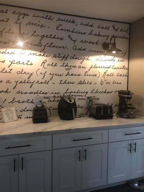 kitchen backsplash   handwritten family recipe