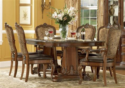 31242 formal dining table set experience a r t world 7 pc pedestal dining set in cherry