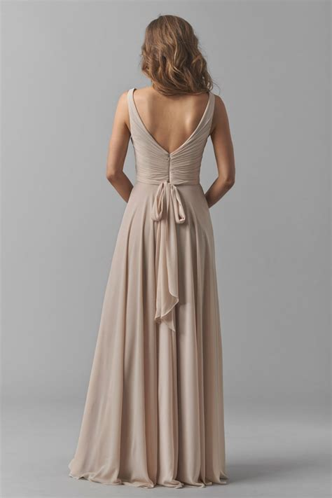 watters  karen bridesmaid dress  neck surplice bodice