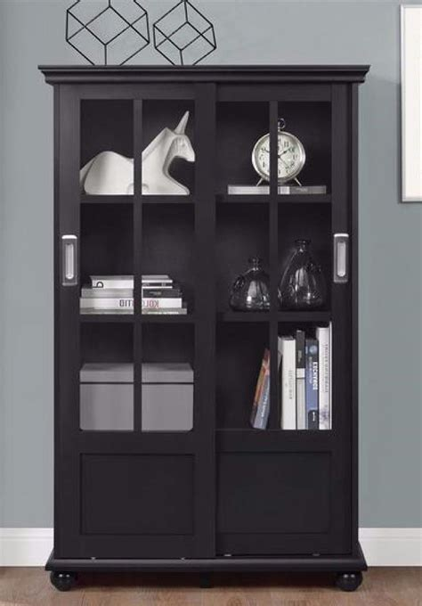glass display cabinet bookshelf  sliding glass doors