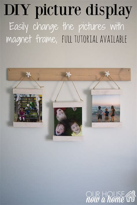 diy wood scrap picture display  magnet frame
