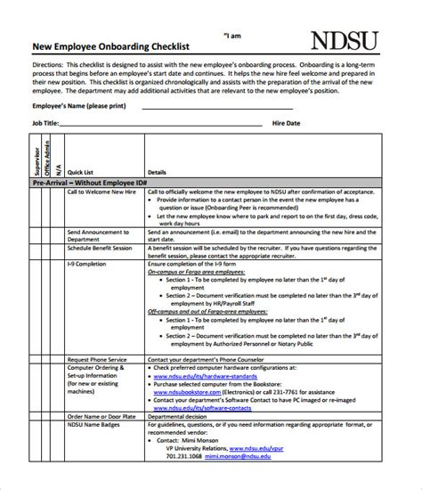 new hire checklist sle 16 documents in pdf