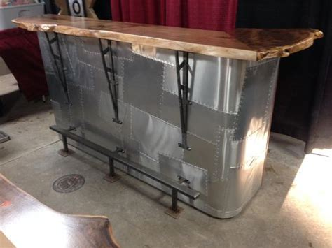 Custom Made Walnut Slab And Metal Bar by Saw Tooth Designs