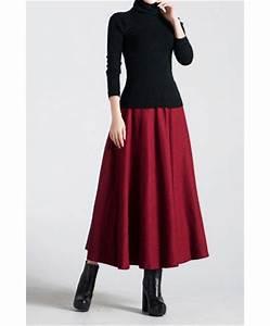 Womens Long Skirts - Three Quarter Length Skirt / Woolen / Red Wine