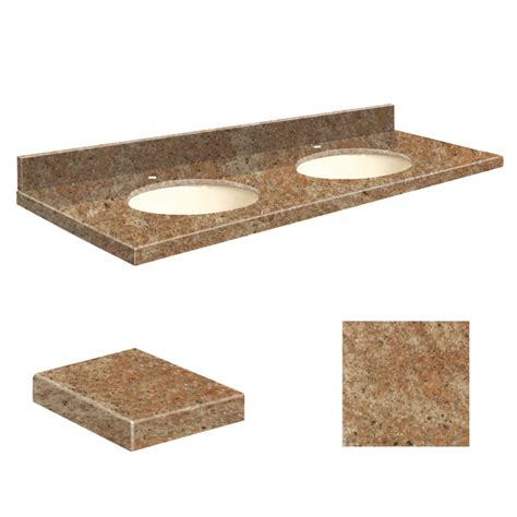 double sink bathroom vanity top shop transolid india gold granite undermount double sink