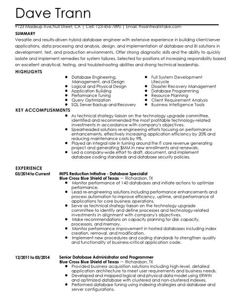 Database Specialist Resume by Professional Database Specialist Templates To Showcase