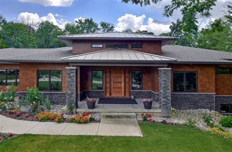 prairie home plans classic interior design and modern house with terrace also green grass and stone paving also